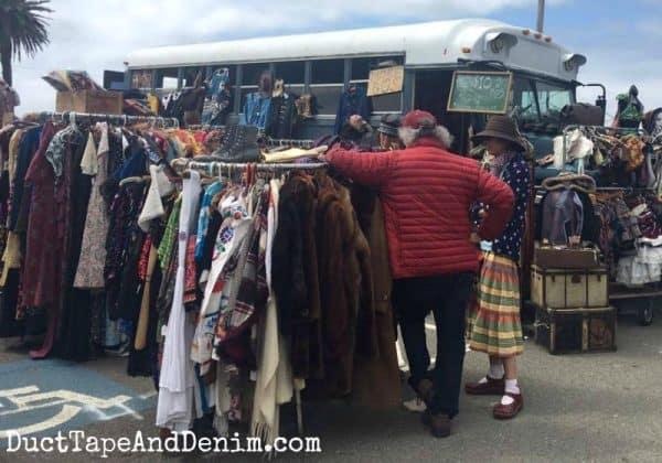 Super cute vintage clothes bus at Treasure Island Flea, a market in San Francisco. More flea market finds on DuctTapeAndDenim.com