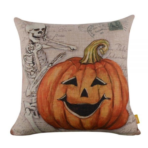 Vintage pumpkin and skeleton Halloween pillow cover