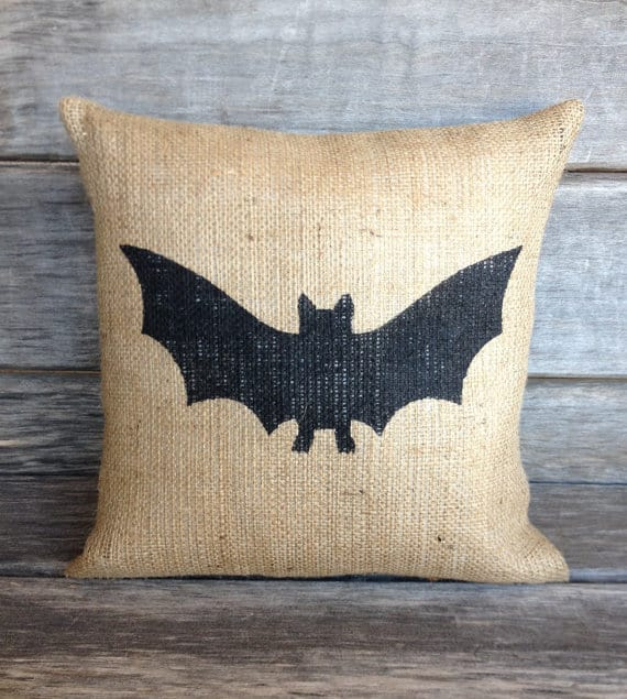 Bat burlap Halloween pillow cover
