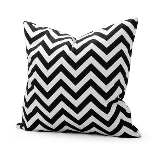 Black and white chevron Halloween pillow cover, more Halloween pillows on Duct Tape and Denim blog, DuctTapeAndDenim.com