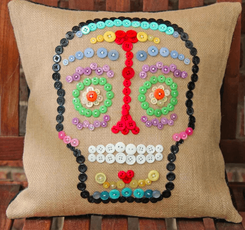button sugar skull halloween pillow
