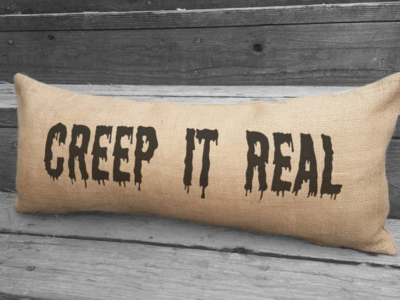 Creep it real Halloween pillow, more Halloween pillows on Duct Tape and Denim blog, DuctTapeAndDenim.com