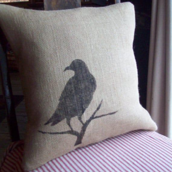 Raven burlap Halloween pillow, more Halloween pillows on Duct Tape and Denim blog, DuctTapeAndDenim.com