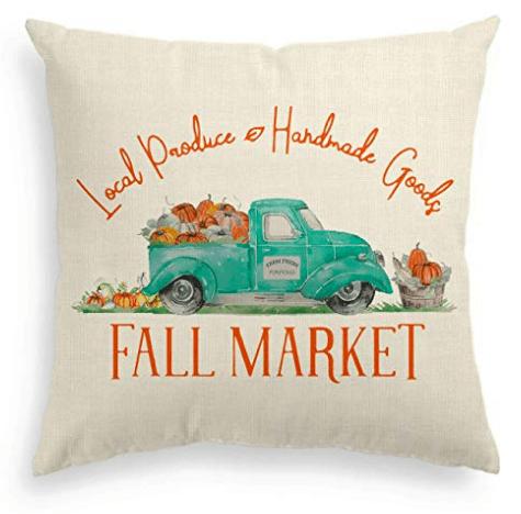 fall market turquoise truck pillow cover