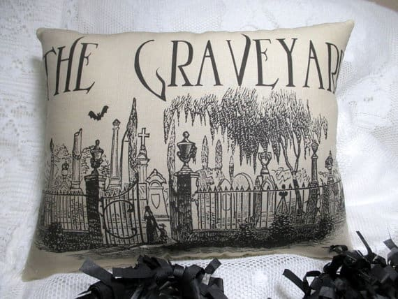 Graveyard Halloween pillow cover, more Halloween pillows on Duct Tape and Denim blog, DuctTapeAndDenim.com