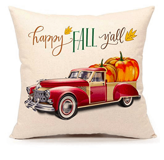 happy fall y'all red truck pillow cover