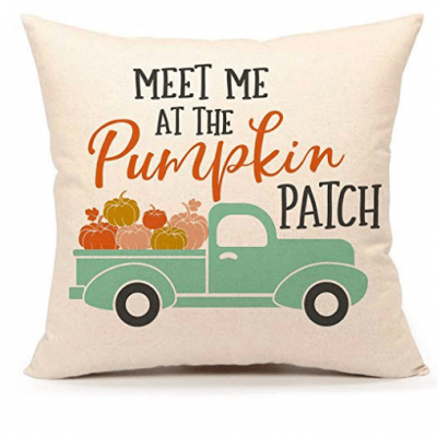 meet me at the pumpkin patch blue truck pillow cover