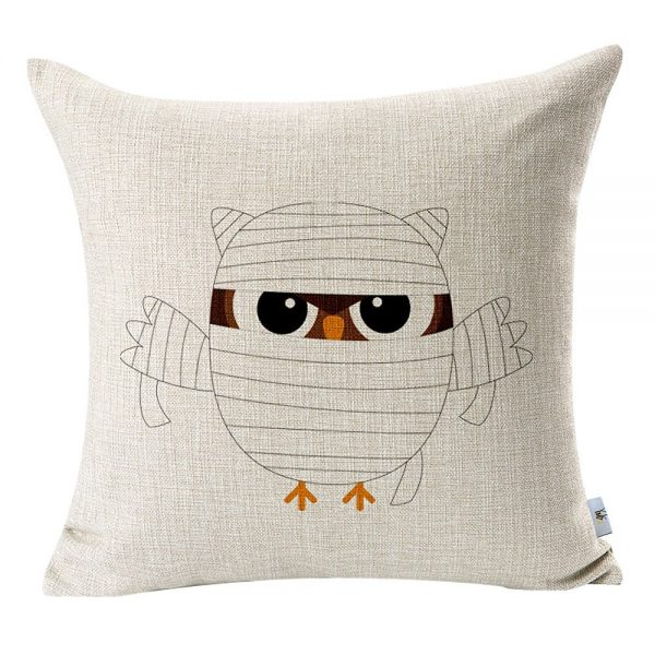 Mummy owl Halloween pillow cover, more Halloween pillows on Duct Tape and Denim blog, DuctTapeAndDenim.com