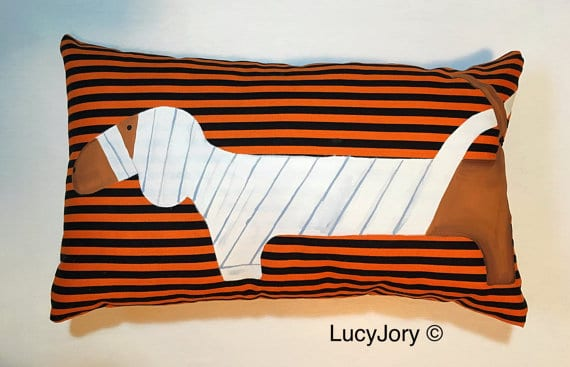 Dachshund dog mummy Halloween pillow cover, more Halloween pillows on Duct Tape and Denim blog, DuctTapeAndDenim.com