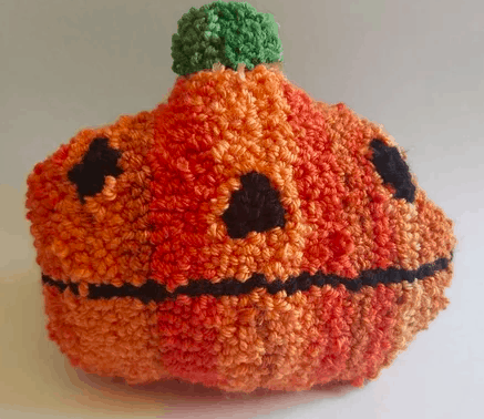 needle punch pumpkin pillow