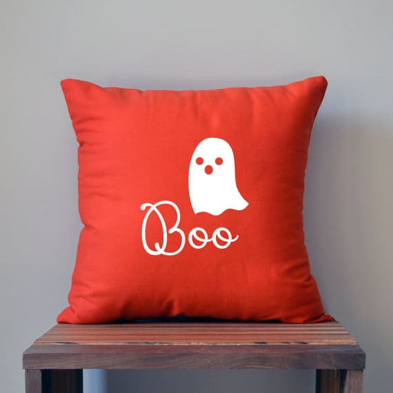 Orange ghost boo Halloween pillow cover, more Halloween pillows on Duct Tape and Denim blog, DuctTapeAndDenim.com