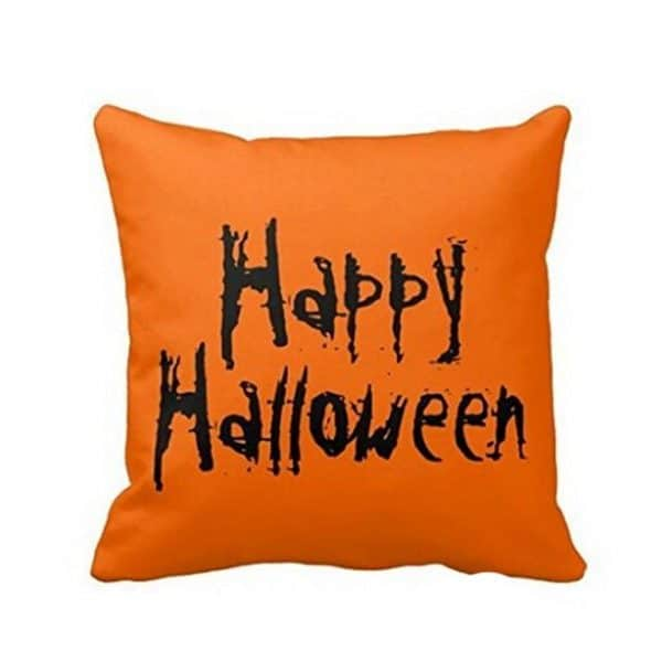 Orange Happy Halloween pillow cover, more Halloween pillows on Duct Tape and Denim blog, DuctTapeAndDenim.com
