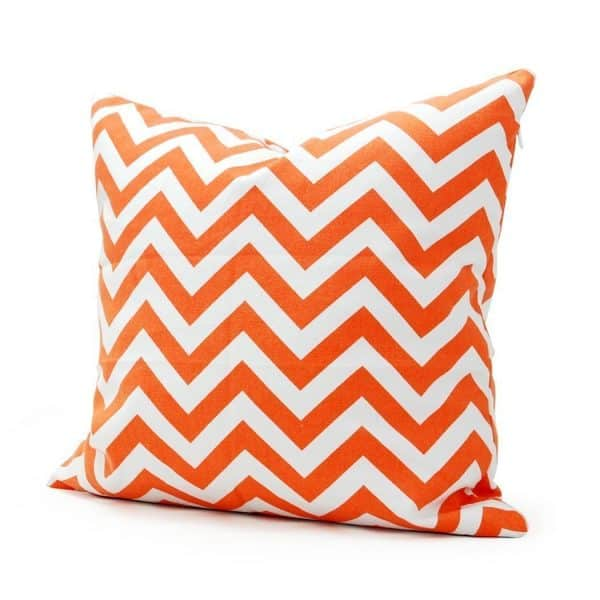 Orange and white chevron Halloween pillow cover, more Halloween pillows on Duct Tape and Denim blog, DuctTapeAndDenim.com