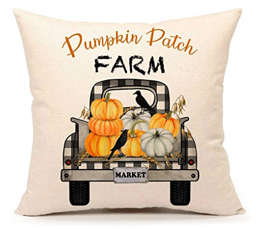 pumpkin patch farm plaid truck pillow cover with pumpkins