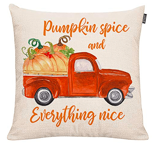 pumpkin spice and everything nice red truck pillow cover