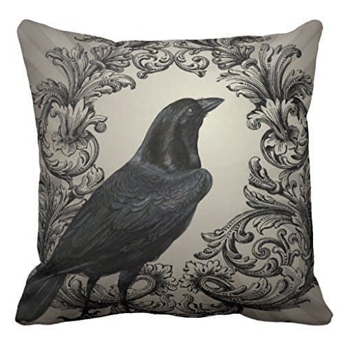 Crow Halloween pillow cover, more Halloween pillows on Duct Tape and Denim blog, DuctTapeAndDenim.com