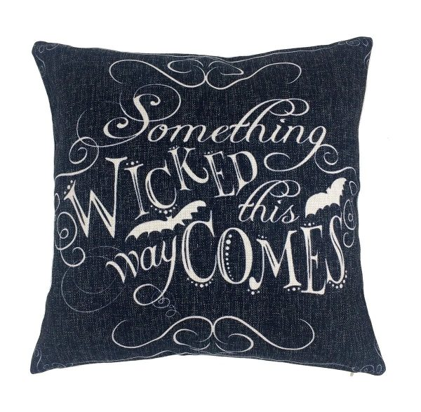 Something wicked this way comes Halloween pillow cover. More Halloween pillows on Duct Tape and Denim blog, DuctTapeAndDenim.com