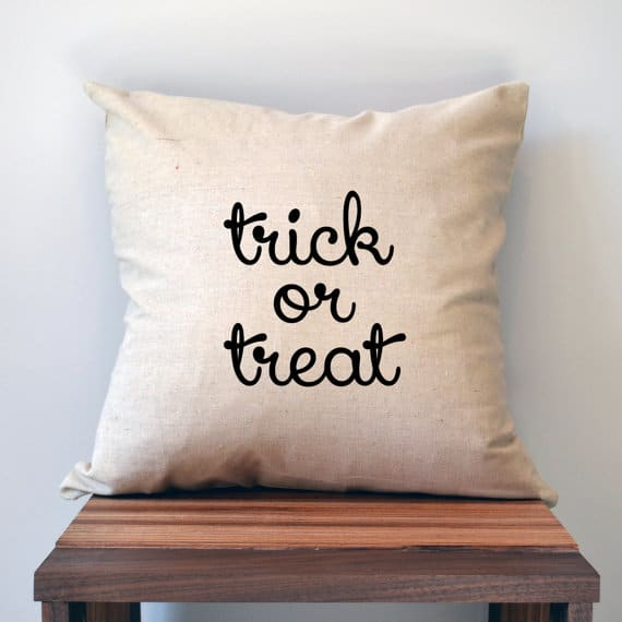 Trick or treat black burlap Halloween pillow cover, more Halloween pillows on Duct Tape and Denim blog, DuctTapeAndDenim.com