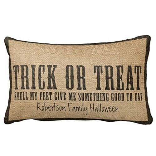 Trick or treat smell my feet Halloween pillow cover, more Halloween pillows on Duct Tape and Denim blog, DuctTapeAndDenim.com