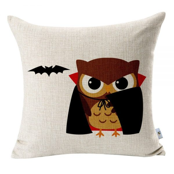 Vampire owl Halloween pillow cover