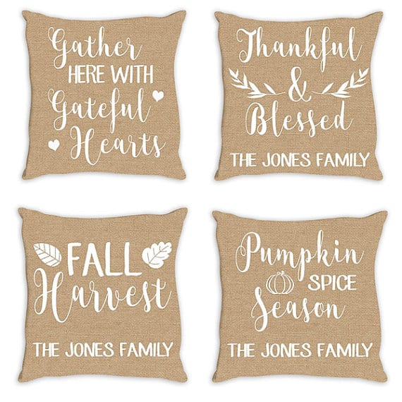 4 Thanksgiving pillows | DuctTapeAndDenim.com