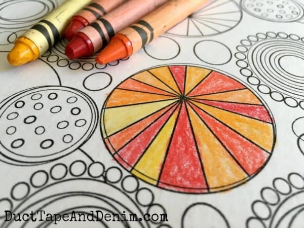 Using Crayola colors to color file folders and free coloring pages on DuctTapeAndDenim.com
