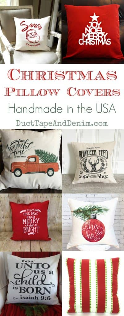 Christmas pillow covers, handmade in the USA! See more Christmas and holiday decor ideas on DuctTapeAndDenim.com