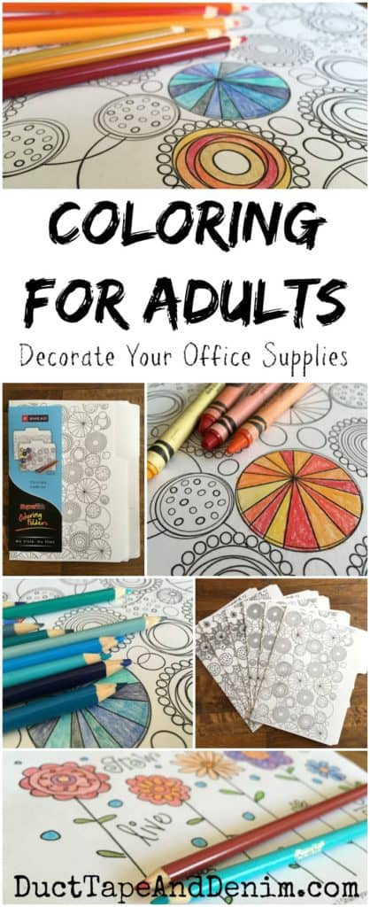Coloring for adults, decorate your office supplies. PLUS enter giveaway for Tombow Dual Brush markers | DuctTapeAndDenim.com