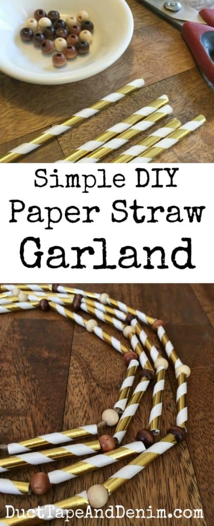Simple DIY paper straw garland, More Thanksgiving fall crafts on DuctTapeAndDenim.com