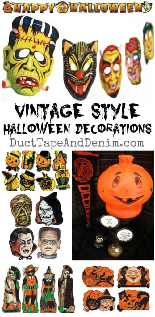 Vintage Halloween decorations and sources for reproductions on DuctTapeAndDenim.com