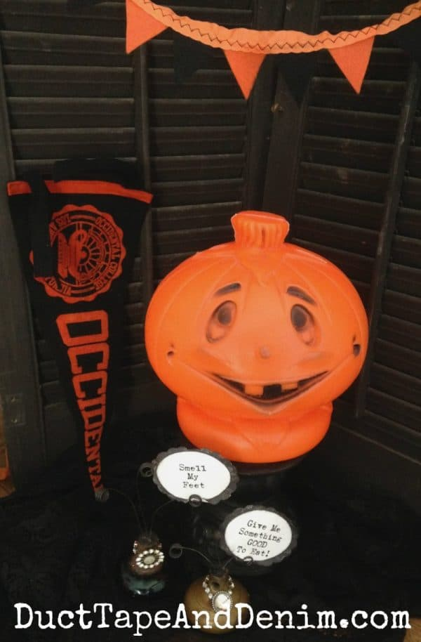 Vintage Halloween decorations, lighted Jack O'Lantern
