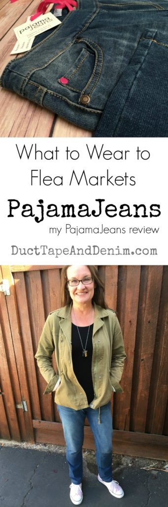 What to wear to flea markets, PajamaJeans review, fashion over 40, fashion over 50 | DuctTapeAndDenim.com