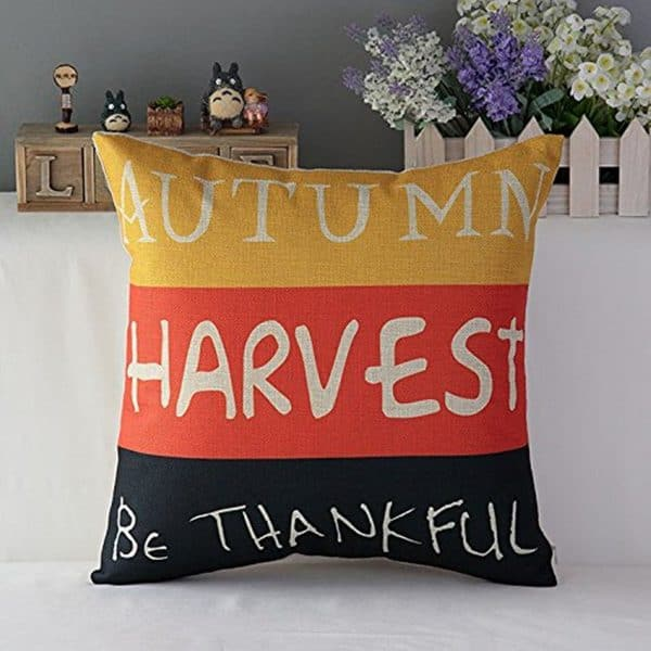 Autumn harvest be thankful thanksgiving pillow | DuctTapeAndDenim.com