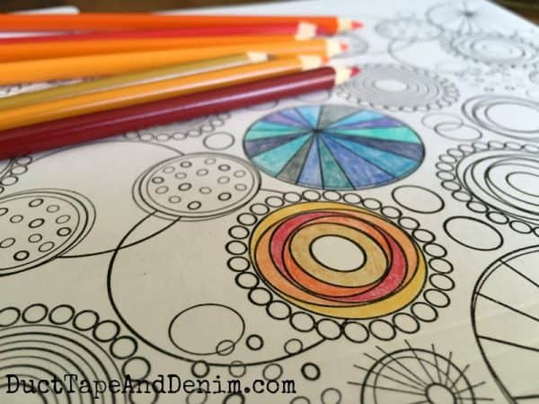 Using my favorite Crayola colored pencils to color my file folders, coloring for grown ups | DuctTapeAndDenim.com