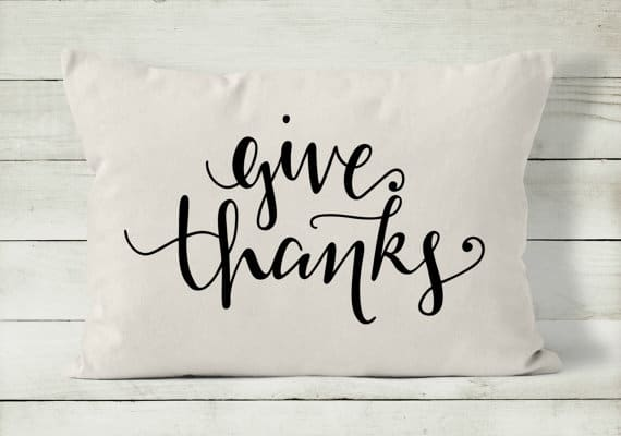Give thanks modern calligraphy Thanksgiving pillow | DuctTapeAndDenim.com