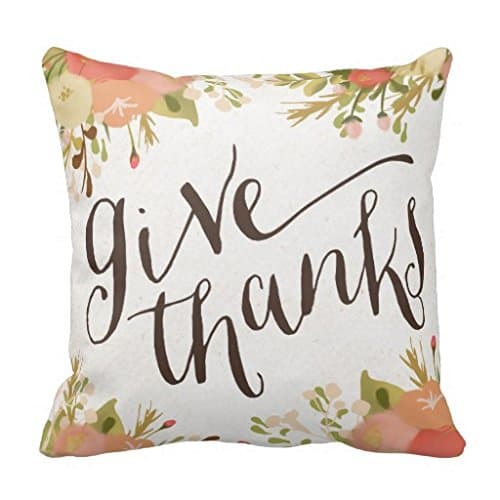 Give thanks floral Thanksgiving pillow | DuctTapeAndDenim.com