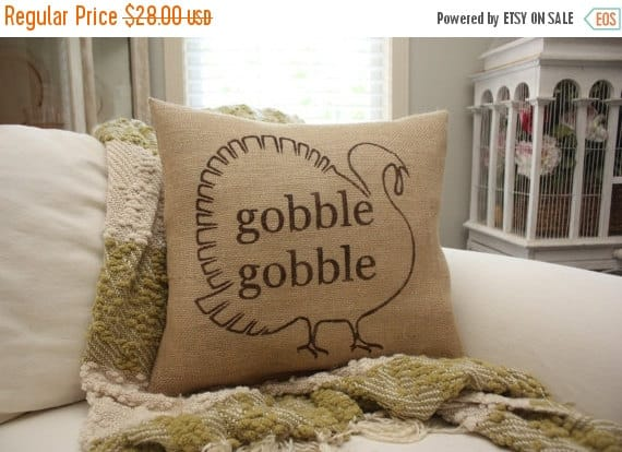 Gobble turkey Thanksgiving pillow | DuctTapeAndDenim.com