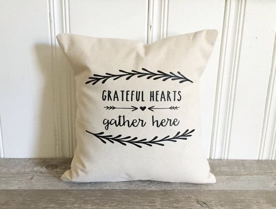 Grateful hearts gather here Thanksgiving pillows on DuctTapeAndDenim.com