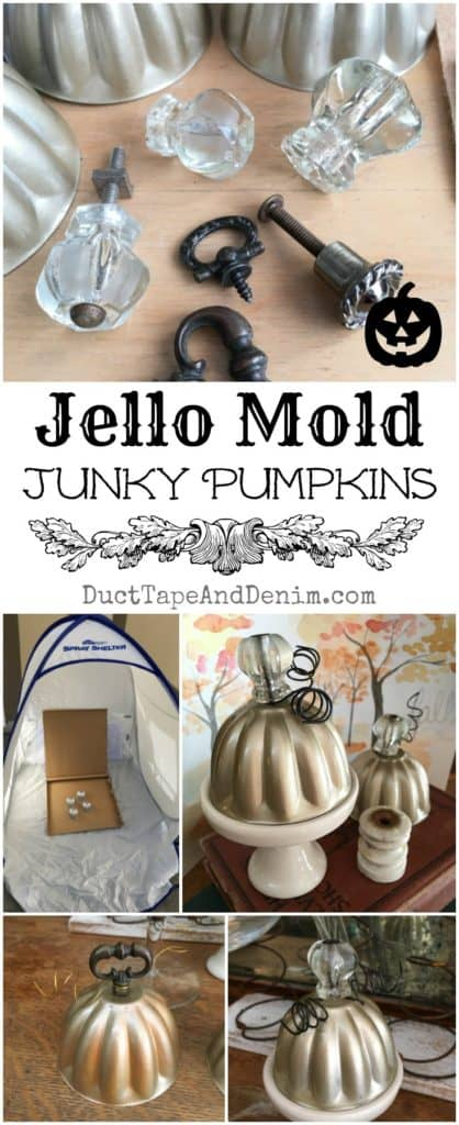 Jello mold junky pumpkins, spray paint vintage jello molds. Details on DuctTapeAndDenim.com