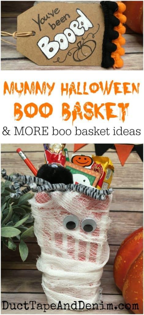Mummy Halloween Boo Basket. More boo basket ideas on DuctTapeAndDenim.com