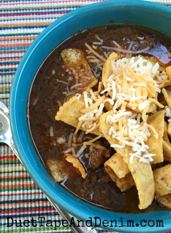 Simple Texas Chili recipe with Fritos and cheese | DuctTapeAndDenim.com