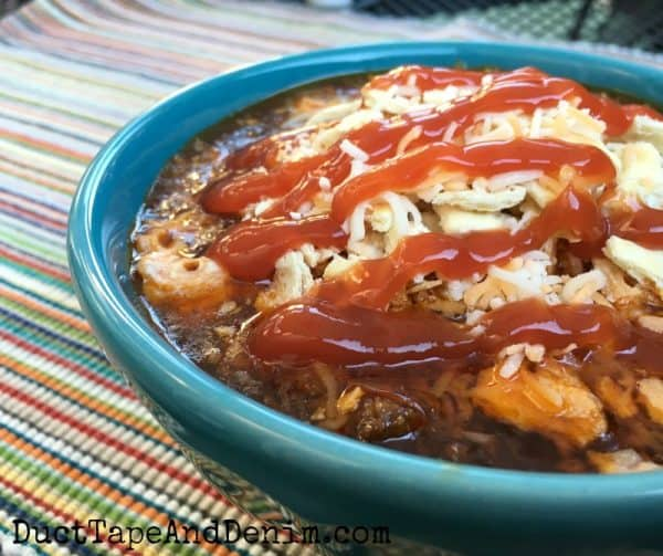 Simple Texas Chili Recipe, we eat it with catsup, virtual chili cook off | DuctTapeAndDenim.com