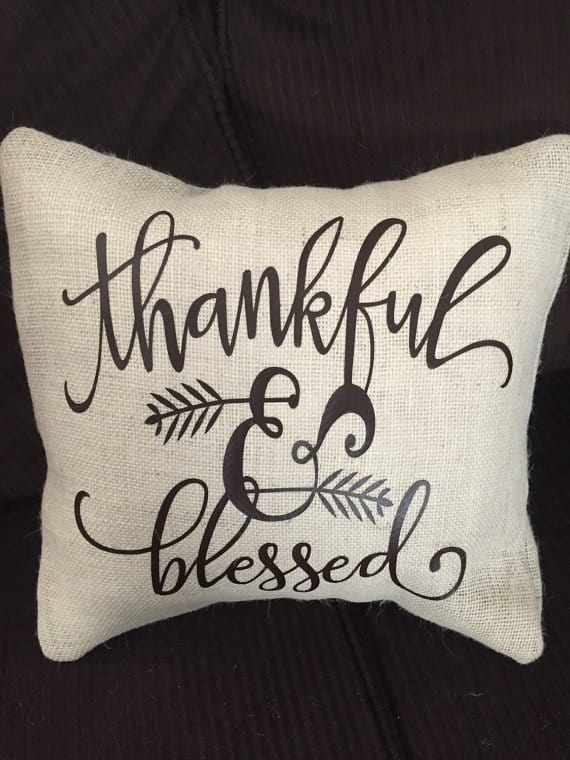 Thankful, blessed Thanksgiving pillows | DuctTapeAndDenim.com