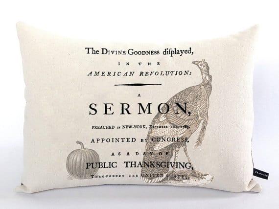Vintage Thanksgiving sermon pillow case | DuctTapeAndDenim.com