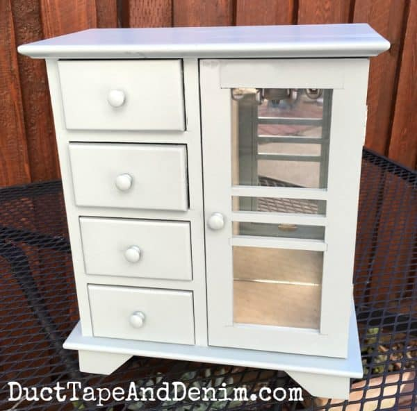AFTER - thrift store jewelry cabinet makeover, chalk paint sprayer | DuctTapeAndDenim.com
