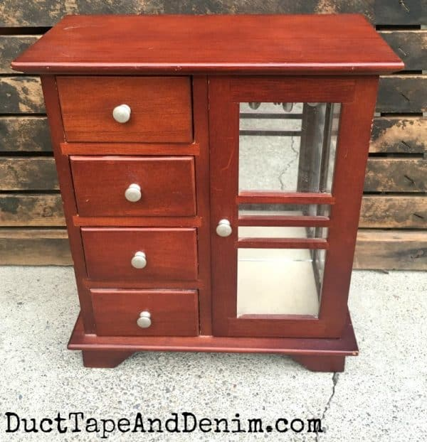 Thrift store jewelry cabinet makeover BEFORE | DuctTapeAndDenim.com
