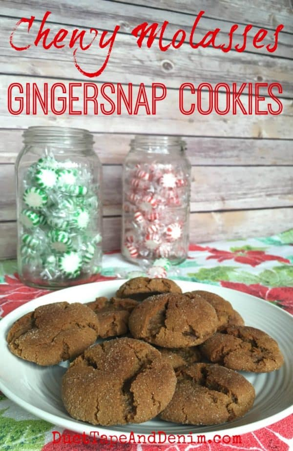 Chewy Molasses Gingersnap Cookies Recipe. Lots more Christmas cookie recipes on the virtual cookie exchange! DuctTapeAndDenim.com