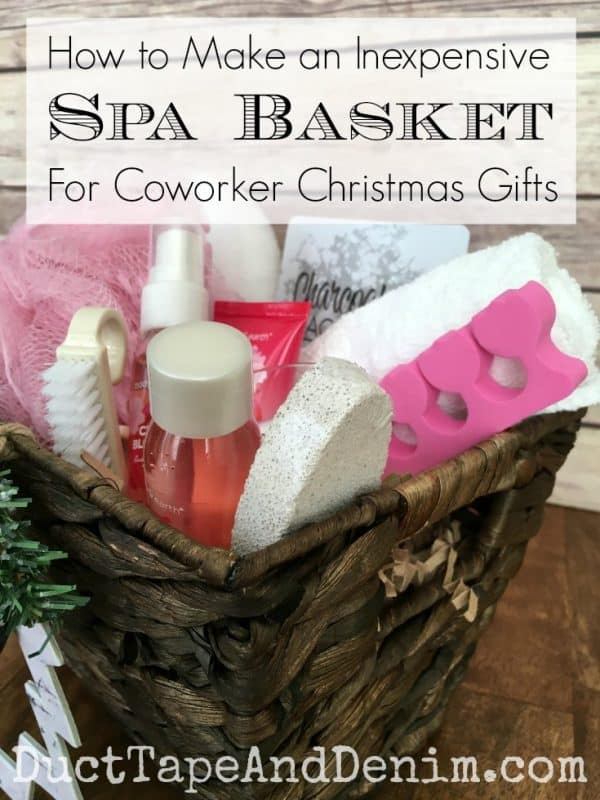 how to make an inexpensive spa basket for coworker christmas gifts more diy christmas gift