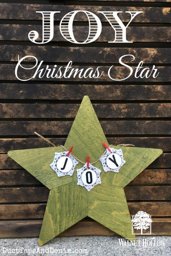 Easy DIY JOY Christmas star, painted, stained wood | DuctTapeAndDenim.com