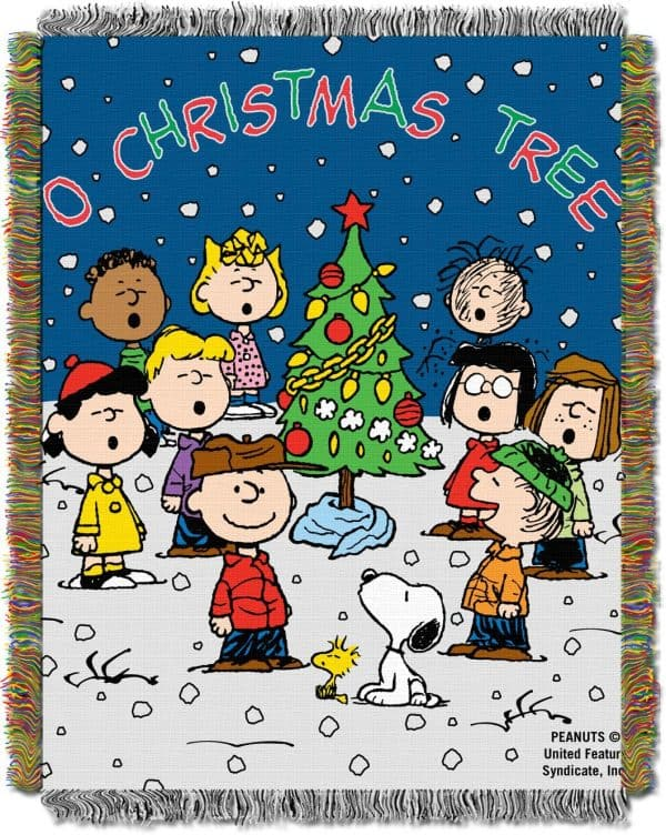 Peanuts Christmas fleece throw blanket